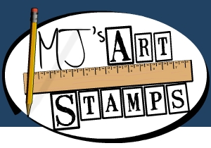 Mj's Art Stamps logo™.  Custom Rubber stamp letters.